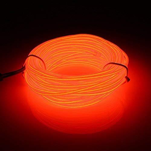 EL-Draht, 3M flexible Neon 3-Lichtmodi Tragbare batteriebetriebene Elektrolumineszenz-Packungstreiber Hohe Helligkeit für Weihnachten Auto Party Dekoration Hochzeit Pub(Orange)