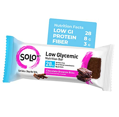 Chocolate Brownie, Low Glycemic Protein Bars,Gluten Free,Slow Release Energy, Weight Management, Bars for Pre and Post Workout 10-12 Grams of Protein, 40-50g per Bar, 1 Box of 6 Bars -Solo Bars