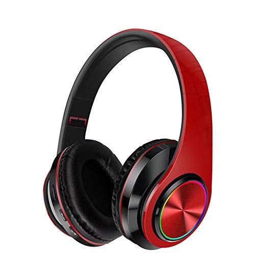 Auriculares Plegables, Auriculares estéreo inalámbricos con Bluetooth, Auriculares Plegables, Auriculares FM para iPhone/Samsung/iPad/PC/TV (Rojo)