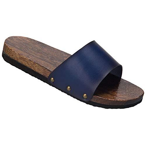 Zapatos de zapatilla de zuecos de madera transpirables para hombre Sandalias planas antideslizantes Geta, azul
