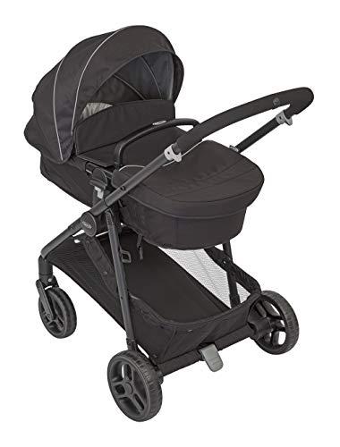 Graco Transform Kinderwagen, 2 in 1 Kinderwagenset, Kombikinderwagen mit Babywanne und Buggy in einem, klein zusammenklappbar, mit Regenschutz und Fußsack, 0-22 kg, schwarz, Black