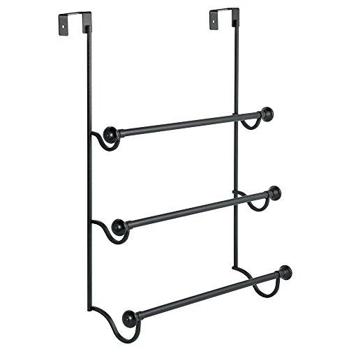 iDesign York Steel Over-The-Door Towel Rack - 17.75' x 4.75' x 22.5', Matte Black