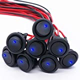Twidec/8Pcs SPST Round Dot Lighted Rocker Switch Toggle Control for Car Or Boat 20A 12V DC...