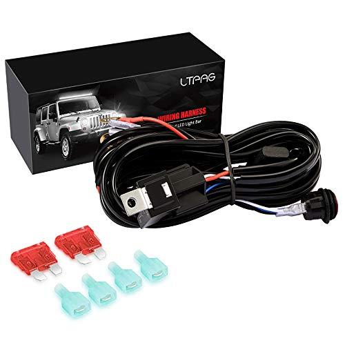 LTPAG 300W Arnés de Cableado, 12V-48V 40A 10ft Arnés del Interruptor Impermeable para 2pcs 18W/27W/36W/48W/60W/72W/84W/120W/144W Focos LED Tractor y Barra LED para SUV,ATV,Camión - Garantía de 2 Años