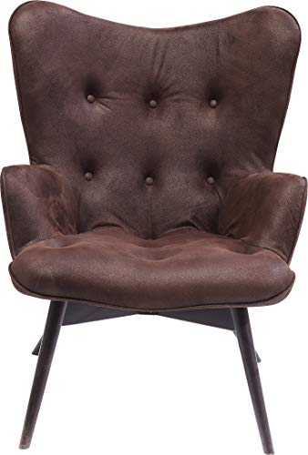 Kare Design Sessel Angels Wings Dark Brown Econo, moderner TV Chillout Polstersessel mit Armlehne, Lounge XL Cocktailsessel im Retro-Vintage Design, dunkelbraun (H/B/T) 94x73x81cm