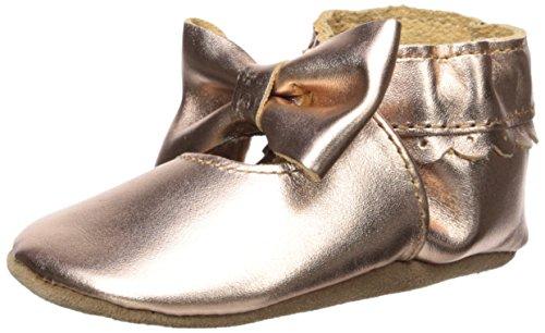 Robeez Girls' Premium Leather Moccasins Crib Shoe, Rosie - Rose Gold, 18-24 Months M US Infant