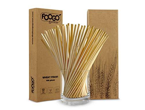 FOOGO Green 100pcs Cannucce di Grano | USA e Getta cannucce biodegradabili | Cannucce di plastica Alternative | 100% Naturali | Biologiche | Monousa | Succo di Frutta e Cocktail | ecologiche | Feste