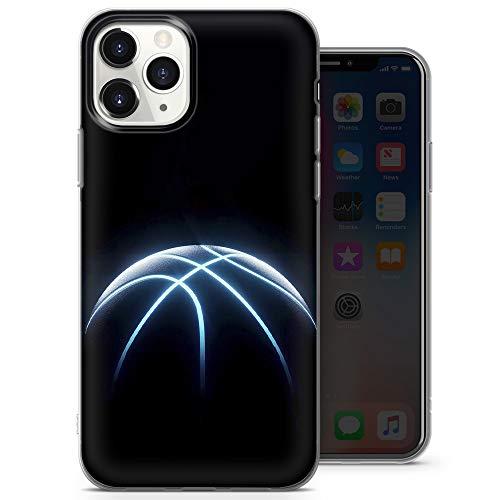 Funda para teléfono compatible con iPhone X, iPhone XS – Delgada y suave silicona TPU parachoques para jugar baloncesto (naranja llama amarillo gris) – Diseño 1 – A26