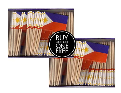2 Boxes Mini Philippines Toothpick Flags, BOGO Buy 1 Box of 100 and Get Another Box Free, Total 200 Small Mini Filipino Flag Cupcake Toothpicks or Tiny Cocktail Sticks & Picks