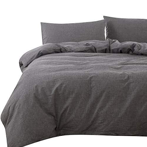 掛ふとんカバー ダブル オーガニックコットン洗いざらしの綿100% 防ダニ 布団カバー(チャコールグレー、190x210cm)
