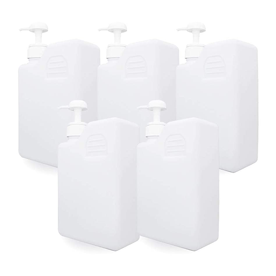 存在脚タンザニア白ボトル1000ml×5本(ポンプとキャップ付) (プラスチック容器 オイル用空瓶 プラスチック製-PET 空ボトル)