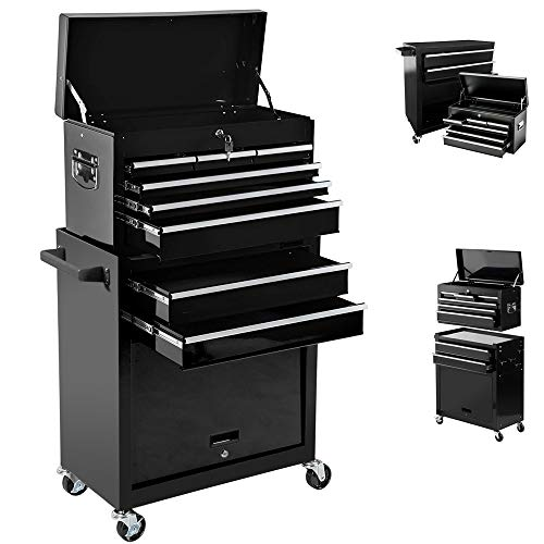 High Capacity 8-Drawer Rolling Tool Chest, Tool Chest Tool Cabinet, Removable Portable Tool Box Organizer with Lock, Tool Box with Sliding Drawers and 4 Wheels, Tool Chest for Workshop Garage (Black)