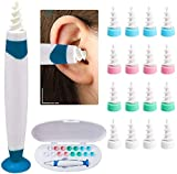 Earwax Removal Tool | Ear Cleaning Tool | Soft Silicone Ear Wax Removal Tool with 16 Replacement Heads | Q Grip Twist Spiral Smart Earwax Remover | Adults Kids Humans