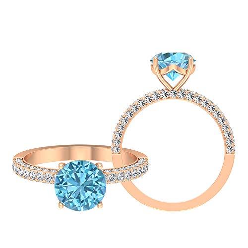 Anillo solitario vintage, piedras preciosas redondas de 3,25 quilates, D-VSSI moissanite 8 mm aguamarina, anillo de compromiso de engaste francés, 10K Oro rosa, Size:EU 70