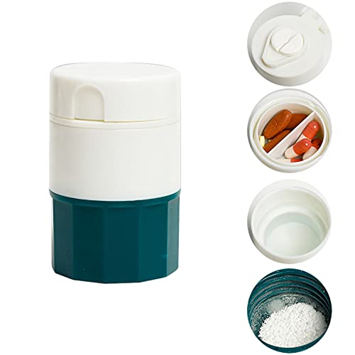 Prensa manualmente la medicina caja portátil para el molinillo manual de medicina comprimidos cortados en casa cortador de medicina separador para pilares pastilleras (verde)