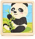 CHRONSTYLE Puzzle de 9 piezas de madera para niños de 2 a 5 años, juego de 4 puzles de animales e insecto para bebés, cerdito de leche, vaca, pollo, caballo, oveja (panda, panda)