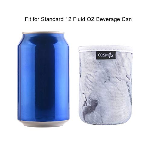 CM Soft Neoprene Standard Beverage Can Sleeves Insulators Regular Standard Can Covers for Standard 12 Fluid Ounce Drink & Beer Cans (Marble Patterns (4 Pcs))