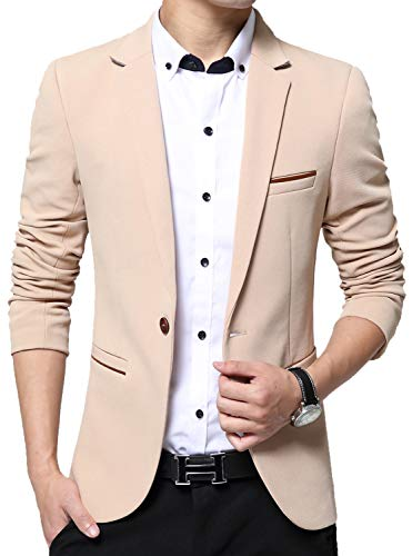 Mens Casual Blazer Suits Casual Solid Lightweight Sport Jackets Flap Pockets Khaki US XL=Lable5XL