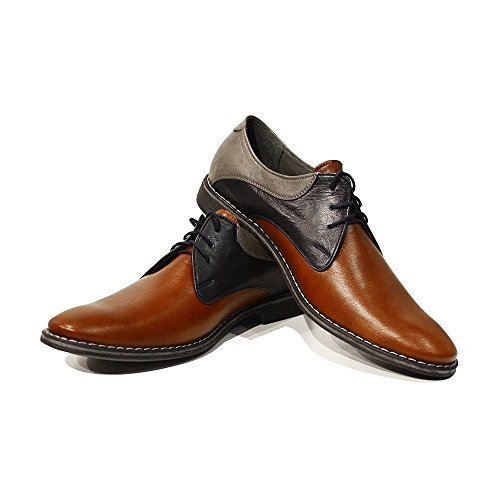 Modello Valerio - Cuero Italiano Hecho A Mano Hombre Piel Color Marrón Zapatos Vestir Oxfords - Cuero Cuero Suave - Encaje
