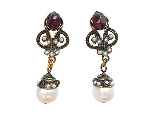 Antik aussehende Ohr-Clips Ohrringe groß Granat-Steine rot Süßwasser-Perlen weiß Hänger vergoldet Handarbeit Italien Retro Vintage