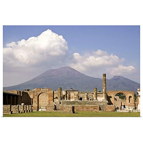 GREATBIGCANVAS Italy, Campania, Pompeii, Temple of Jupiter with Mount Vesuvius in The Background Poster Print.