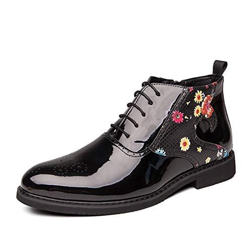 XIEQUN Ankle Boots for mannen High Top Oxfords Lace up echt leder rits aan de zijkant bloemmotief Geperforeerde spitse neus Patchwork (Color : Matte Black, Size : 44 EU)
