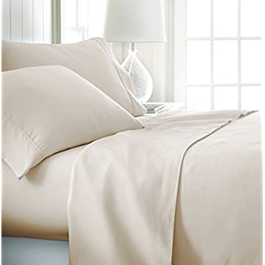 ienjoy Home Hotel Collection Luxury Soft Brushed Bed Sheet Set, Hypoallergenic, Deep Pocket, Twin, Cream