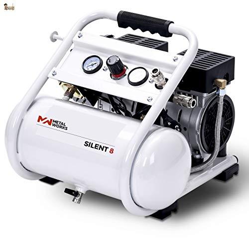 BricoLoco Compresor aire silencioso portátil, pequeño y ligero. 10 bares de presión. 1 CV de potencia. Depósito 8 lts. ¡¡¡ SÓLO 68 DECIBELIOS !!! Dos salidas de aire.