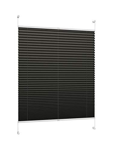 DecoProfi PLISSEE anthrazit/schwarz, verspannt, Breite 80cm x 220cm (max. Gesamthöhe Fensterflügel), mit Klemmträger/Klemmfix/ohne Bohren