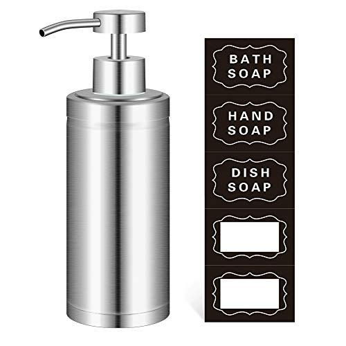 YCOLL Hand Soap Dispenser -304L Stainless Steel Dish Bath Countertop Lotion Dispensers with Rust/Leak Proof Pump, Liquid Wash Brushed Metal Soap Bottle (10 Oz /300M)