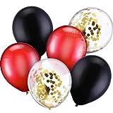 Jovitec 30 Pièces 12 Pouces Ballons en Latex Ballons Confettis pour la Décoration de Mariage de Anniversaire de Fête (Rouge et Noir)