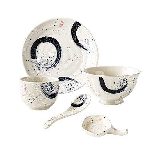 ZKAIAI Resistente al Calor Vintage Placa de cerámica del Plato de Sopa Desayuno Fruta menaje de Restaurante Juego de 5 Piezas Sopa de Estilo japonés Cuchara Plato de Arroz pequeño tazón de Fuente