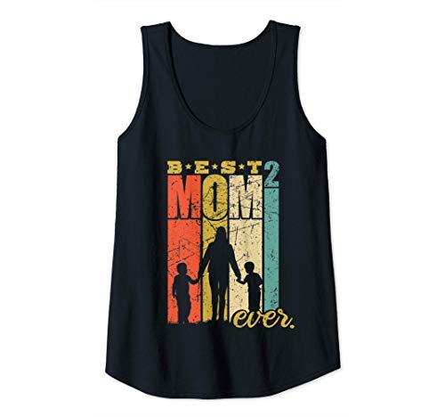 Mujer Best Mom Ever mamá de dos gemelos mamá con hijos Camiseta sin Mangas