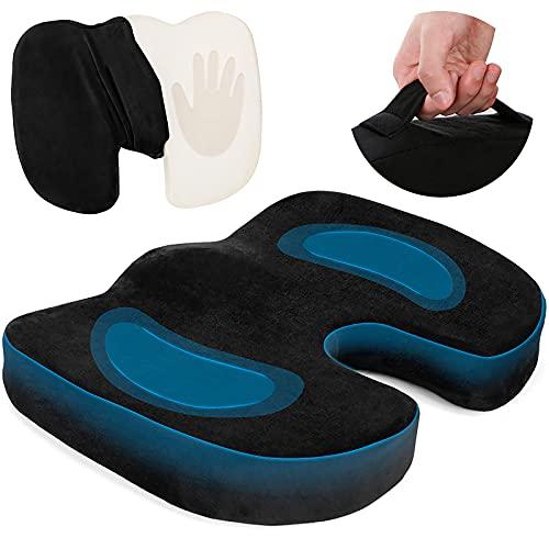 Orthopädisches Sitzkissen,Memory Foam Sitzkissen, für Ergonomisches Hämorrhoiden Sitzkissen, Können Steißbein Entlastung & Rückenschmerzen, Fördert Durchblutung und Erhöht Sitzkomfort.