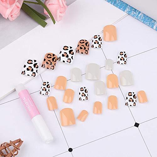 CSCH Faux ongles 24 pièces fille léopard gommage 3D mode style long nail art faux ongles autocollant avec de la colle gratuite