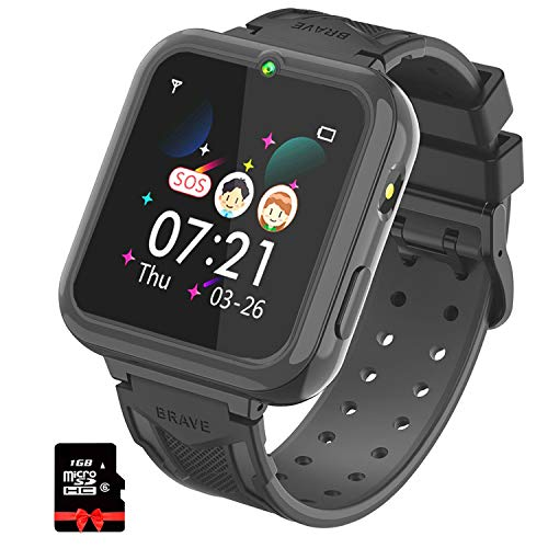 Kinder Smartwatch, Smart Watch Phone mit Musik-Player, SOS, 1,55 Zoll LCD-Touchscreen-Uhr mit Digitalkamera, Spielen, Taschenlampe, Zwei Wege Gespräch, Wecker für Jungen und Mädchen(schwarz)
