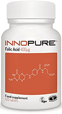 Folic Acid 400ug | Introductory Offer | One a Day Easy to Swallow Tablets, 4 Months Supply | Vegan, Vegetarian Society Approved from Innopure