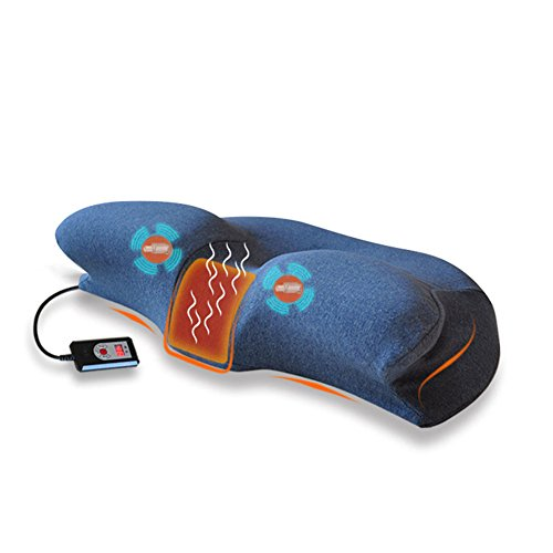 NACHEN Cervical Elektrische Heizung Massage Kissen Erwachsene Zervikalen Langsam Rebound Memory Kissen,Blue,60X35x12cm