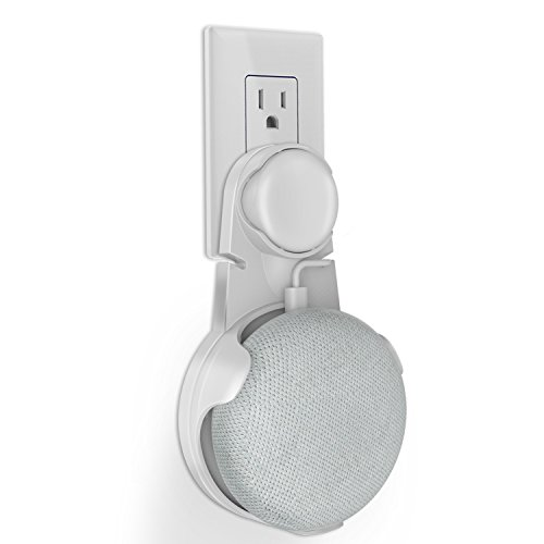 Outlet Wall Mount Stand Hanger for Google Home Mini, Compact Holder Case Plug in Kitchen Bathroom Bedroom, Hides the Google Home Mini Cord (White)
