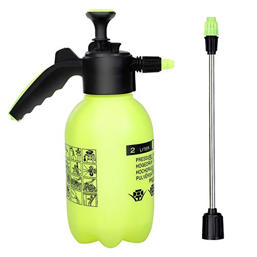 Gfhfjheg Pump Pressure Water Sprayer With Adjustable Nozzle And Extra Spray Wand Handheld Manual Garden Sprayer For Watering Plants, Spraying Weeds, Home Cleaning And Car Washing (2L) Yellow