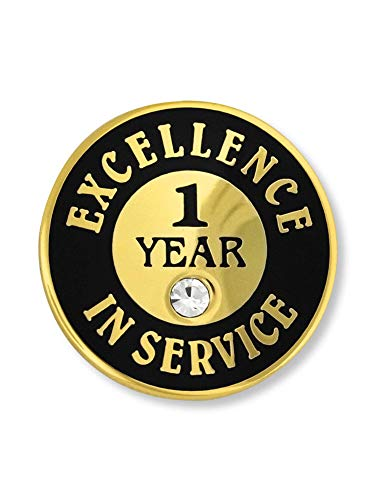 PinMart Gold Plated Excellence in Service 1 Year Award Lapel Pin