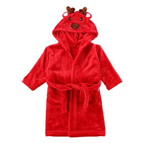 Bambini Accappatoio Natale Vestaglia Flanella Camicia da Notte Renna Pigiama