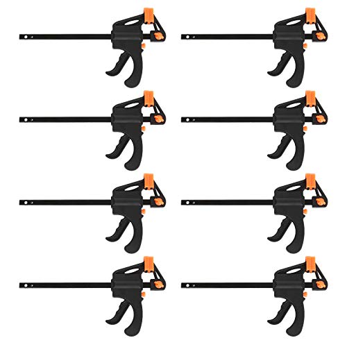 LISHINE 4 Inch Bar Clamps for Woodworking, 8 Pack Quick Grip Clamps Trigger Clamp One Handed Ratchet Clamp, Mini Small Bar Clamp for Craft