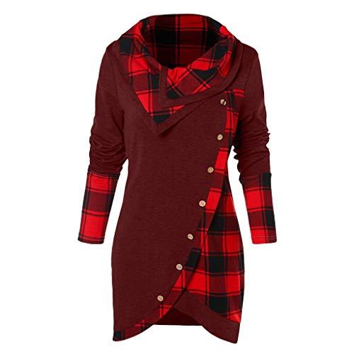 Vimoli Pullover Dame Turtleneck Plaid Tartan Patchwork Tunika Sweatshirt Langarm Wasserfallausschnitt Casual Tops(Wein,3XL)