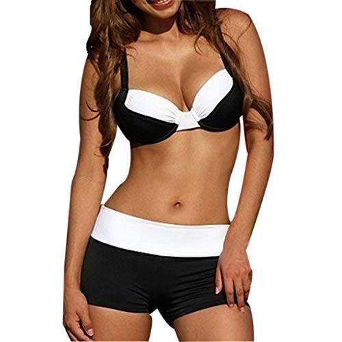 Fenverk Damen Ruffles Strap Badeanzug Crop Top Bikini Sets Hoch Taillierte Halter Vintage Push Up Zweiteilige Bademode Strandkleidung Retro High Waist Set Backless Taille Bedeckte Bauch(D Schwarz,XXL)