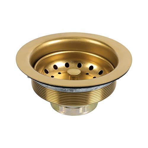 LQS - Escurridor para fregadero de cocina, de acero inoxidable 304, con cesta extraíble y tapón de 3 – 1/2 pulgadas, color dorado