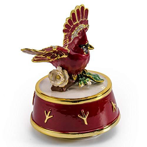 Juwelen Kardinaal Vogel Met Rood En Goud Accenten Roterende Muzikale Keepsake - Meer dan 400 Liedjes Keuzes