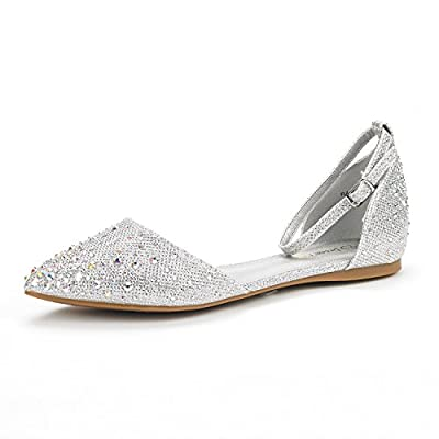 DREAM PAIRS Flapointed-Shine New Women's Casual D'Orsay Rhinestones Pointed Toe Comfort Soft Ballet Flats Shoes Silver Size 9