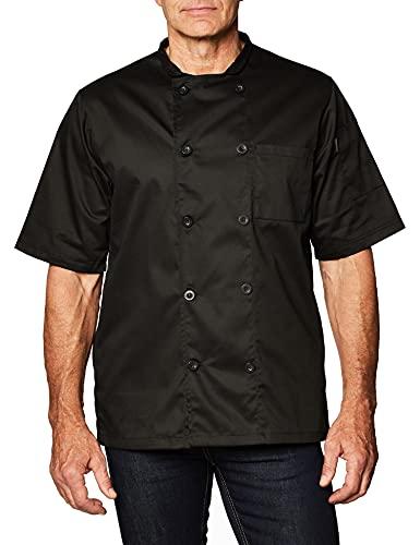 Chef Code Men's Short Sleeve Unisex Classic Chef Coat, Black, X-Large
