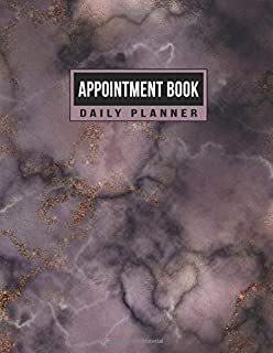Appointment Book Daily Planner: Schedule Notebook for Nail Salons, Spas, Hair Stylist, Beauty & Massage Businesses with Times Daily and Hourly Spaced ... Increment (Purple & pink Glitter Marble)